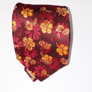 Ermenegildo Zegna Orange/Red Floral Silk Tie
